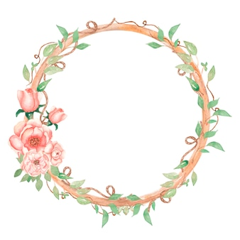 Vintage floral wreath clipart, watercolor romantic pink peony flower frame clip art, delicate peach roses and greenery bouquet illustration