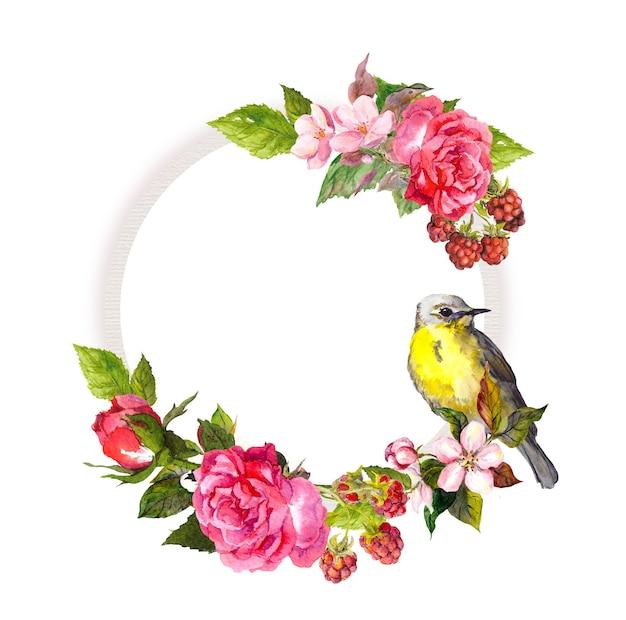 ウェディングカードのヴィンテージの花の花輪。花、バラ、ベリー、鳥。保存日付テキストの水彩のラウンドフレーム