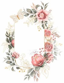 ヴィンテージ花柄フレームクリップアート、水彩サンゴ牡丹クリップアート、ロマンチックな赤い花、庭、結婚式の招待状、ロゴデザイン、カード作成、愛の日