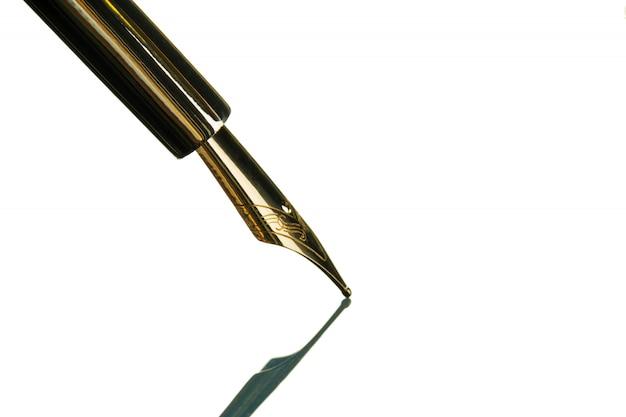 Vintage fountain pen close up on white