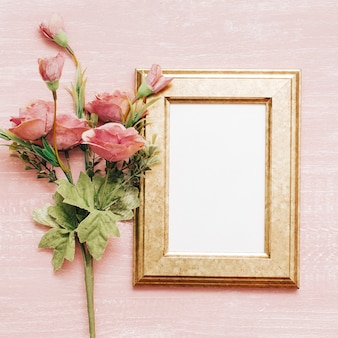 Vintage frame with pink flowers
