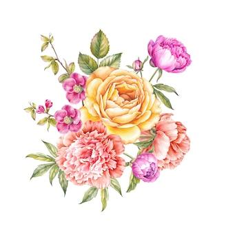 Vintage garland of blooming roses.