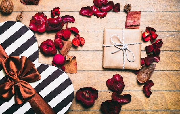 Vintage gift boxes and decoration