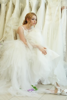 Vintage glamour young woman, dreaming bride