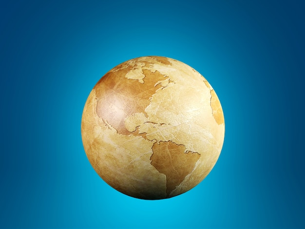 Vintage globe isolated on blue background, 3d rendering