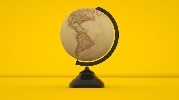Винтажный глобус, изолированные на желтом фоне