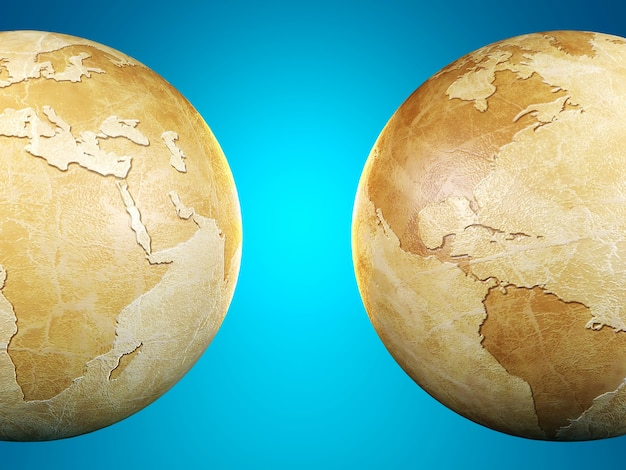Vintage globe isolated showing two different sides