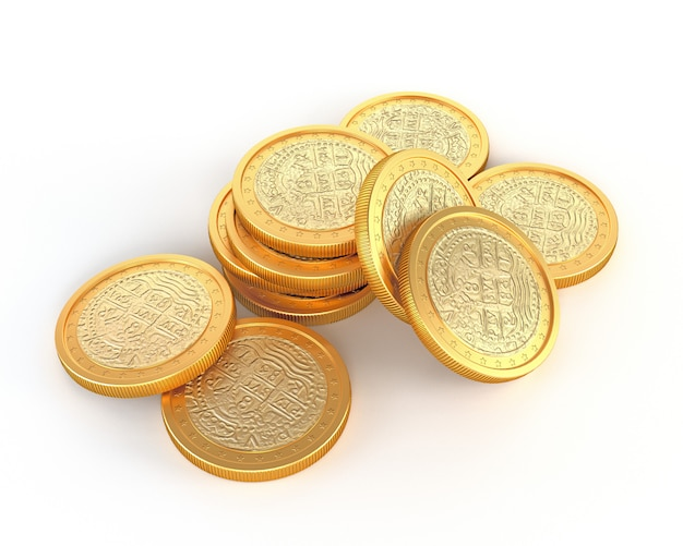 Vintage gold coins, isolated on a white background. 3d illustration.