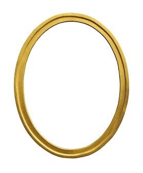 Vintage gold color picture frame isolated on white surface