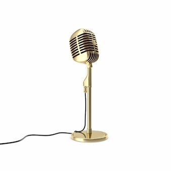 Vintage gold microphone on floor isolated.