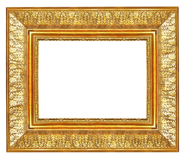 Vintage golden blank frame isolated on white background