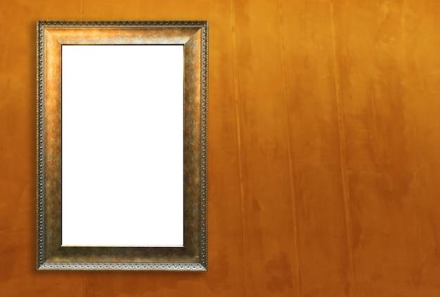 Vintage golden blank frame for mock up