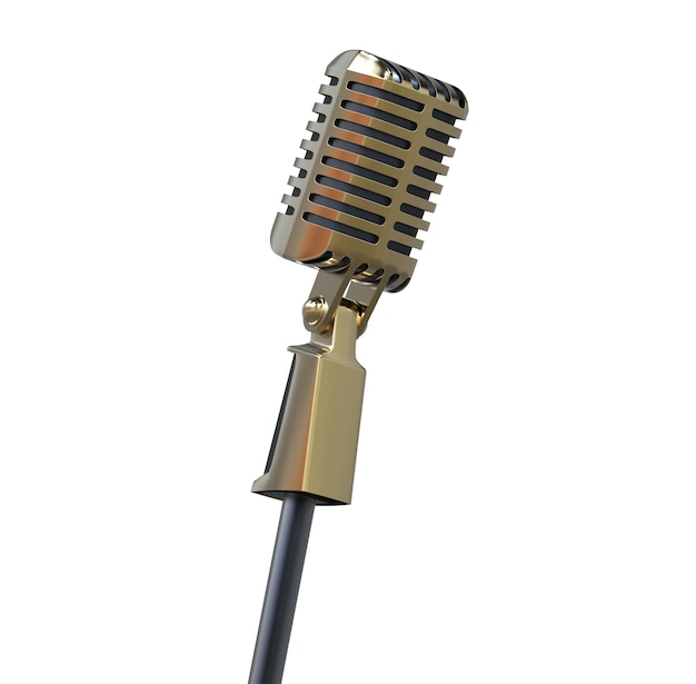 Vintage golden microphone metal retro speech device illustration for stand up or radio