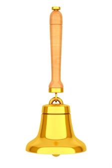 Старинный золотой школьный колокол на белом фоне. 3d рендеринг