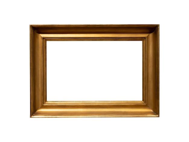 흰색 배경에 고립 된 빈티지 황금 나무 프레임