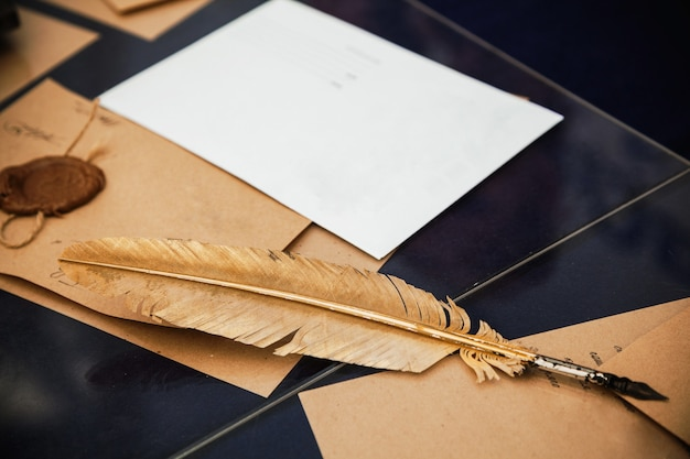 Vintage goose feather for writing lies on vintage envelopes and writing paper