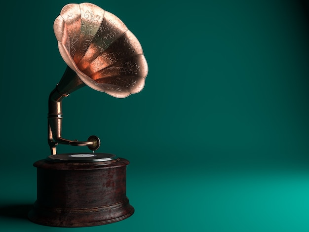Vintage gramophone on green background