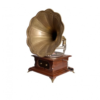 Vintage gramophone with wooden box
