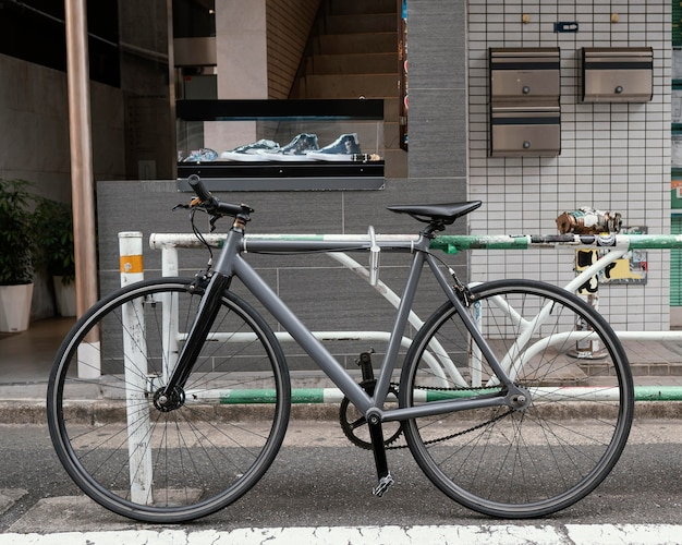 Vintage gray bicycle outdoors