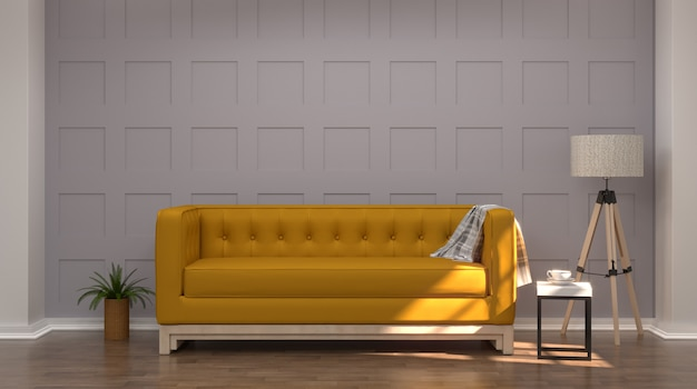 Vintage gray white room interior yellow sofa in front of gray wall room interior wooden