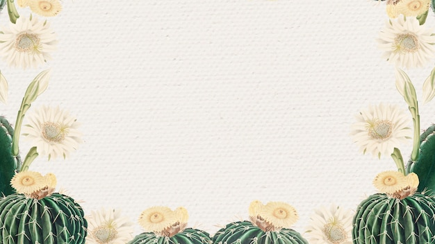 Vintage green cactus with flower frame on paper texture background design element
