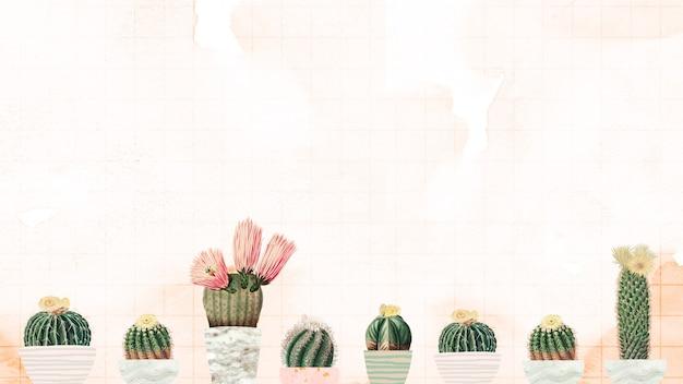Урожай зеленый кактус с цветком на витражной бумаге фоновый элемент дизайна