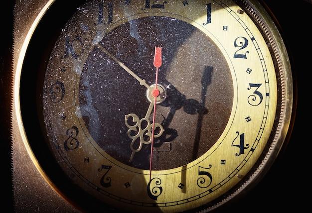 Vintage grunge clock face with vintage roman numerals
