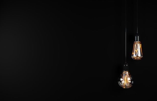 Vintage hanging light bulb over dark background. 3d rendering