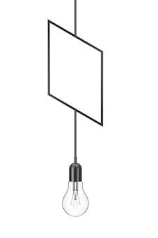 白い背景の上のヴィンテージハンギング電球。 3dレンダリング