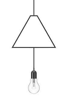 Vintage hanging light bulb on a white background. 3d rendering