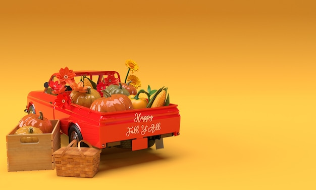 Vintage harvest red toy car and wooden box with pumpkins, corn, pepper and flowers on orange background. fall autumn decorative lettering for thanksgiving day. happy fall y'all. 3d illustration