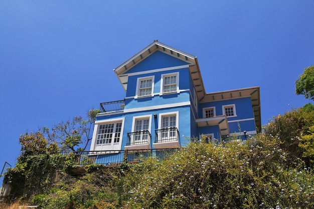 The vintage house in valparaiso of chile