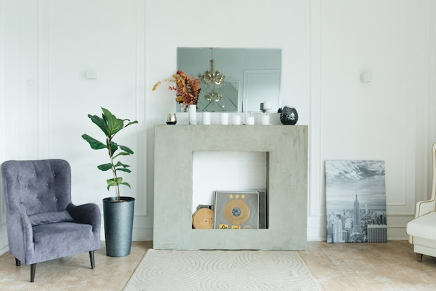 Vintage interior chair and fireplace, interior design