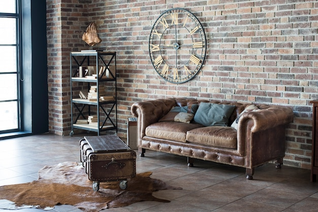 Vintage interior with leather sofa
