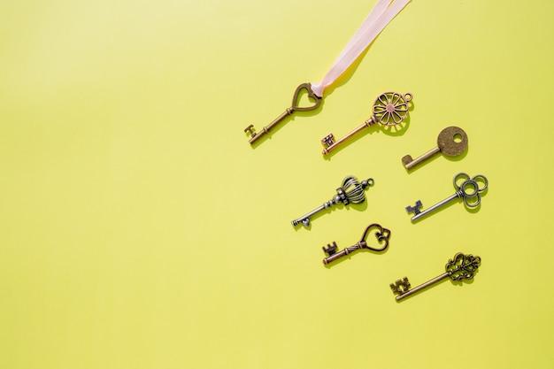 Vintage keys isolated background