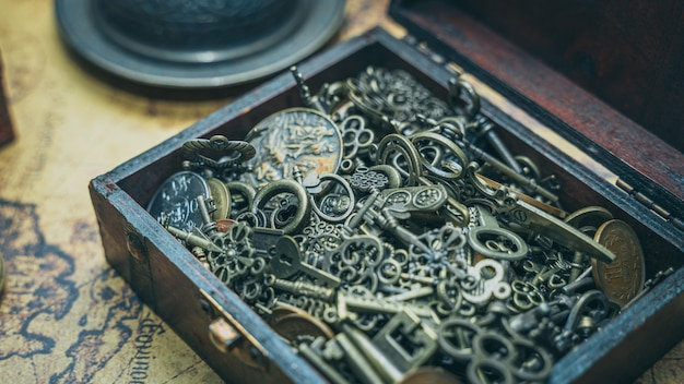 Vintage keys in treasure box