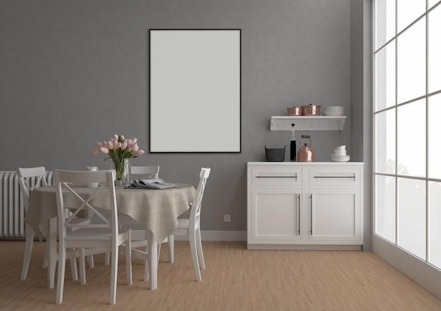 Vintage kitchen with vertical frame, artwork background, interior mockup
