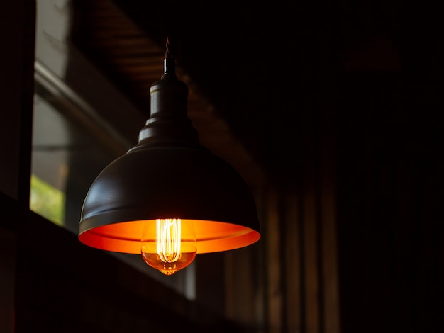 Vintage lamp in a darkened room