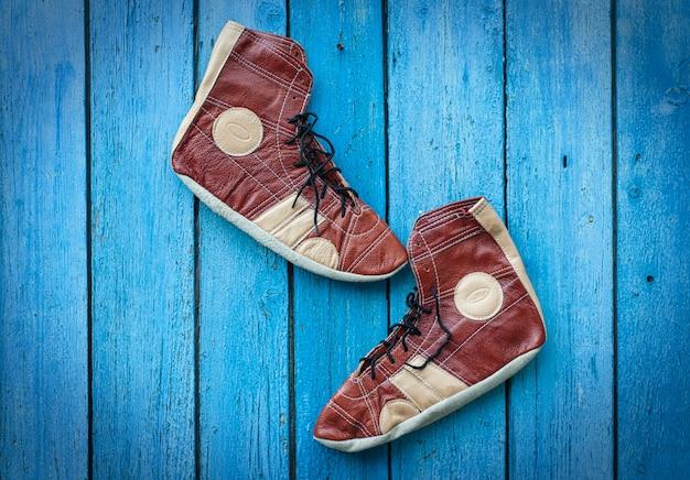 Vintage leather shoes for wrestling