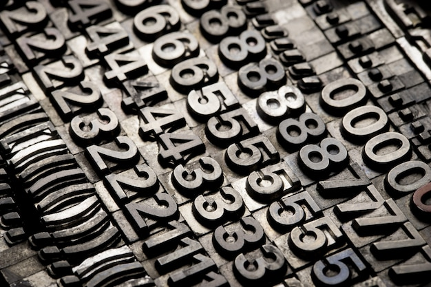 Vintage letterpress alphabet and number