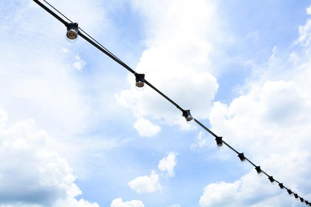 Vintage light bulb is hanging