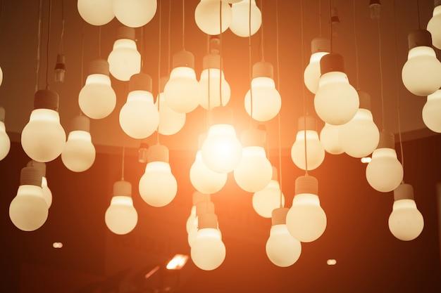 Vintage light bulbs hanging on ceiling