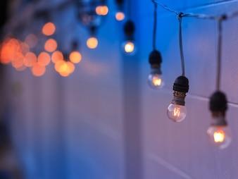 Vintage light bulbs hanging on wall