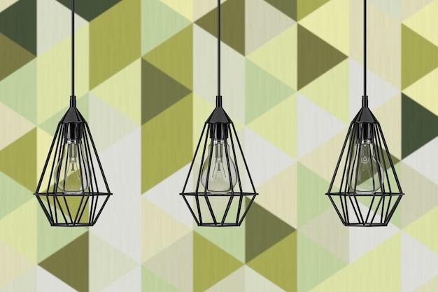 オリーブグリーンの幾何学的なタイルの壁の前にあるヴィンテージの照明装飾天井ランプ。 3dレンダリング