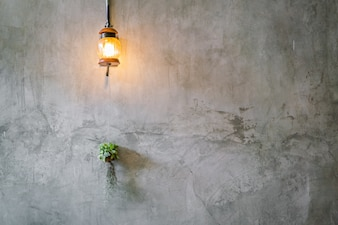 Vintage Lighting decoration with plant over cement wall .