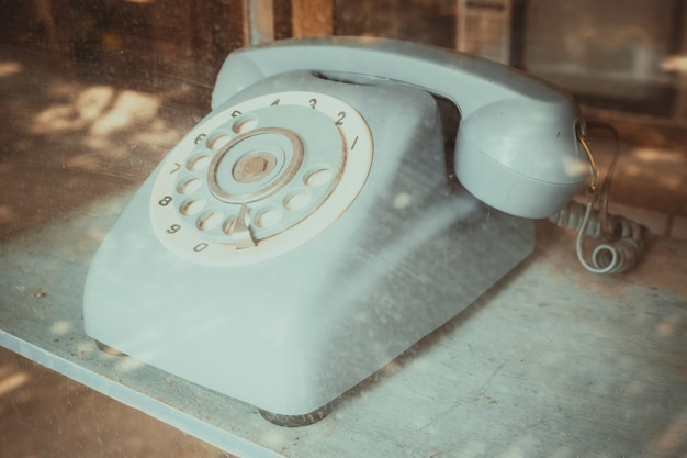 Vintage line telephone receiver, retro technology
