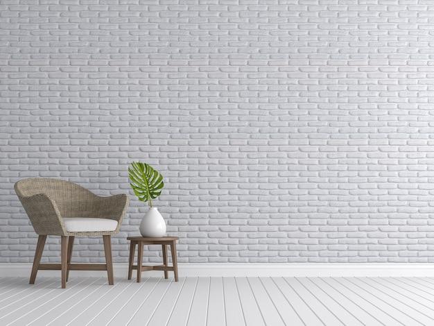 ヴィンテージのリビングルームの3dレンダリング部屋には籐の椅子を備えた白いレンガの壁があります