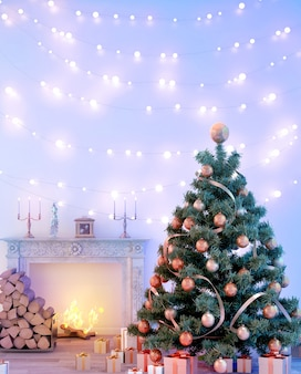 Vintage living room interior design with christmas tree