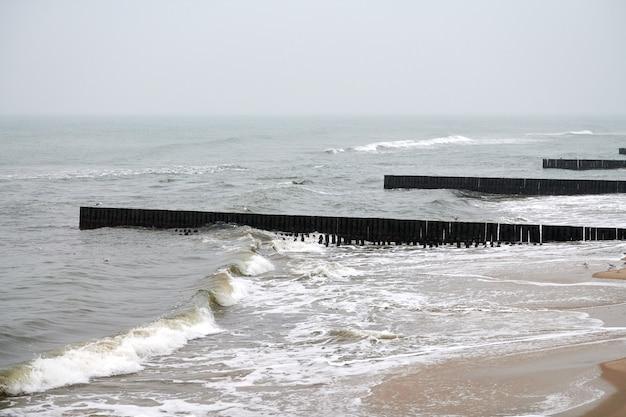 ヴィンテージの長い木製の防波堤が海まで伸びており、冬のバルト海の風景です。砂浜のカモメ