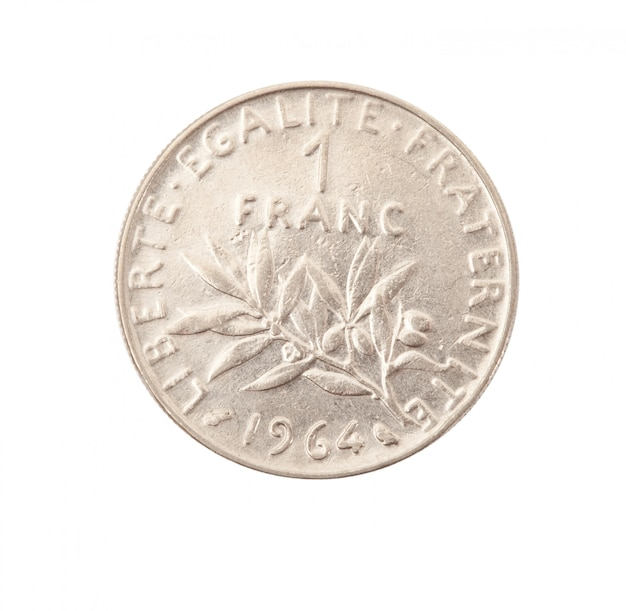 Vintage metal coin in white background